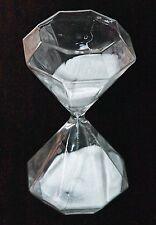 NEW RARE OCTAGON SHAPE PURE WHITE SAND CLEAR GLASS MEDIUM HOURGLASS 30 min TIMER
