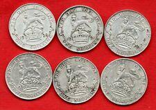 6 George V silver shilling pièces, toutes les dates différentes 1920 - 1925. Job Lot.