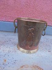27207 Sektkühler Jugendstil Kupfer WMF Straussenmarke Champagne cooler 24cm Frau