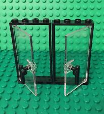 Lego New Trans-clear Glass Double Door W/ Handle Bar Part And Black  Frame 1x4x6