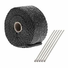 "Top Exhaust Manifold Downpipe Heat Wrap 2"" x 5m & 5 Ties rap Cat Pipe Tape"