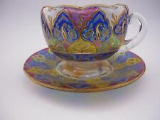 C1900 MURANO TOMMASI GELSOMINI RARE GLASS CUP AND SAUCER.
