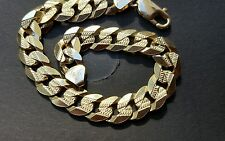 10k solid gold curb pave bracelet  ,24.5 gm, 10mm