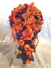 21Piece Bridal Bouquet Package Wedding Flower Orange Purple Hydrangea Tiger Lily