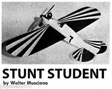 "Model Airplane Plans (UC): Stunt Student 22½"" 1/2A Stunter  (Musciano)"