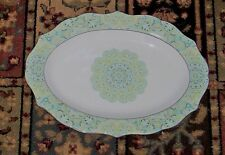 """222 Fifth Lyria Teal  ~ Serving Meat Platter Fine China  ~ Medallion Style 14"""""""