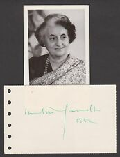 Indira Gandhi   Autograph , Original Hand Signed Card
