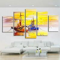 Fishing Sailboats Painting 5 piece HD Art Poster Wall Home Decor Canvas Print