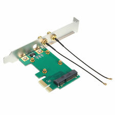 New Mini PCI-E Express to PCIE Wireless Adapter 2 Antenna card WiFi PC Desktop