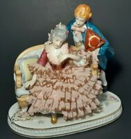 """T.S Lace Porcelain Figurine """"Courting"""" Hand Crafted In Japan"""