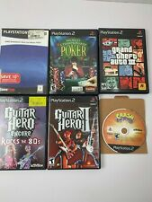 Playstation 2 Video Game Lot of 6 Games Guitar Hero Grand Theft Auto Poker WWE