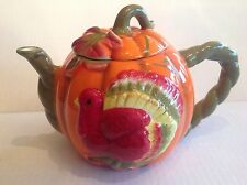 Ganz Ceramic Pumpkin Shaped Teapot with turkey figure on the front