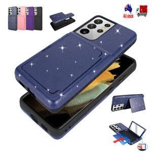 For SamSung Galaxy S21+ S21 Ultra Slim Kickstand Case with Card Slot&Mirror