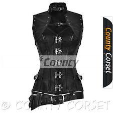 Black Genuine Leather Steampunk Overbust Steel Boned C Hook Bolero Jacket Corset