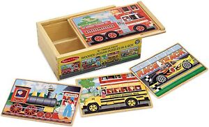 Melissa & Doug Vehicles 4-in-1 Wooden Jigsaw Puzzles OPEN BOX