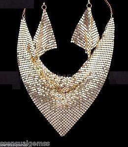 New Gold Mesh Bib Necklace & Earrings Set Women