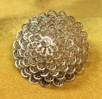 Vintage Fine Sterling Silver Floral Filigree Brooch Pin