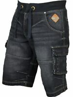 Mens Big Size Cargo Combat Elasticated Shorts in Dark Denim Designer 40 - 60