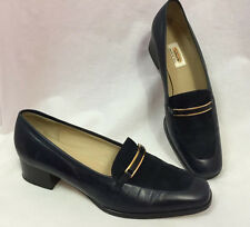 Talbots Elmira Navy Blue Leather Loafers, Gold Buckle,  Women's 7.5 M