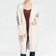 Coco + Carmen Foral Embroidery Embroidered Puff Sleeve Long Sweater