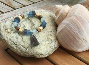 Reclaimed Beach Bracelet w/Tassel, Wood, Recycled Glass, Very Cool