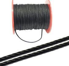 1 Meter Baumwolle Halsband Schwarz 4mm Geflochtet Samtig Schmuckfäden BEST C278
