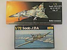HELLER 2 maquettes 1/72 SAAB Viggen & J21A