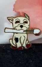 Antique Vintage Bonzo the Dog Badge Studdy Enamel Pit Bull Dog Bone Brooch Pin
