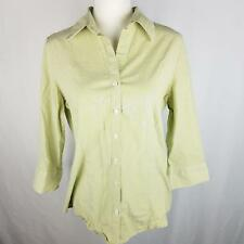 Kim Rogers Button Down Shirt Womens Sz L Large Green Striped Fitted Top ¾ Sleeve