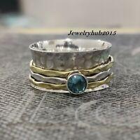 Blue Topaz 925 Sterling Silver Spinner Meditation Ring Statement Ring Size sr37