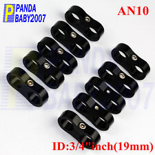 """DUAL AN10 -10 10AN 3/4"""" 19MM BRAIDED HOSE SEPARATOR CLAMP CABLE FASTENER BK 10PC"""