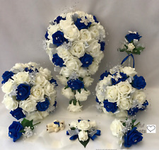 Buy blue wedding bouquets ebay wedding flowers ivory rose royal blue bouquet bride bridesmaid flower girl wand junglespirit Images