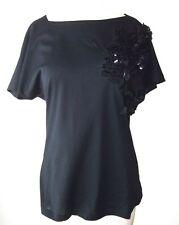 AQUILANO RIMONDI Black Cotton Embellished Sequin Paillette Top 44 8