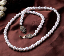 N1001 Forever 21 Victorian Beaded Pearl Flower Crystal Brides Bridal Necklace US