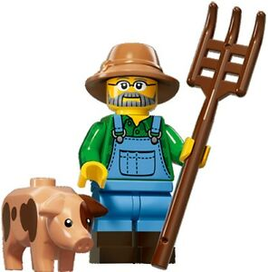 LEGO Minifigures Series 15 Farmer with pig, bucket hat and pitchfork