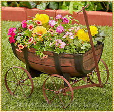 Barrel Garden Flower Planter Wagon Wheel Plant Bed Garden Yard Outdoor Art Decor