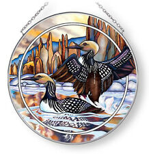 Amia Suncatcher Forever Wild Loons on Water Hand Painted Glass Sun Catcher 6.5""