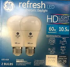 4 (2 x 2-Pack) LED Daylight 60W DIMMABLE 5000K A19 Light Bulbs