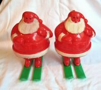 VINTAGE CHRISTMAS SANTA ON SKIS PLASTIC CANDY CONTAINER LOT OF 2