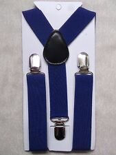 NEW NAVY BLUE BOYS GIRLS CLASSIC CLIP ON BRACES SUSPENDERS ADJUSTABLE AGE 2-6