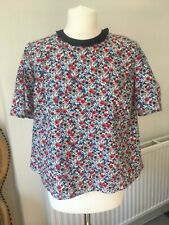 Topshop Boutique Poppy Print Collar Shirt Blouse Top Puff Sleeve Career Size 10