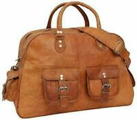 New Brown Vintage Genuine Real Leather Goat Travel Luggage Duffle Gym Bags