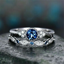 14k white gold over Round Cut blue Sapphire & white diamond Women Wedding Ring