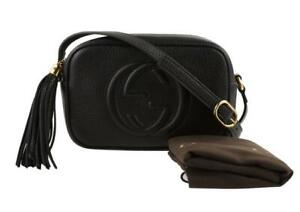 GUCCI Black Grained Calfskin Mini Soho Disco Crossbody Bag