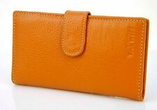 Women Genuine Real Leather Bifold Credit Card Holder Name Slip Wallet Purse Bag