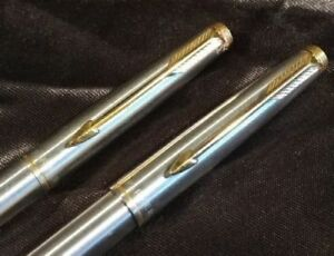 Parker 75 Flighter smooth Silver Gold Cap actuate Ball Pen Pencil 0.9 mm lead