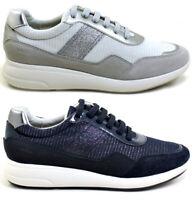 GEOX RESPIRA OPHIRA D021CB scarpe donna sneakers pelle camoscio tessuto zeppa