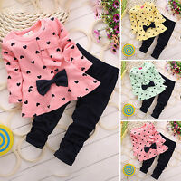 2PCS Kids Toddler Baby Girls Outfits Set Winter Shirts + Pants Bow-Knot Clothes