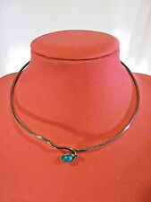 Silvertone & Turquoise Collar Necklace