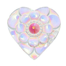 """15 HEART Resin Sparkly CABOCHONS, flatbacks, 21mm (3/4"""") CAB0465"""